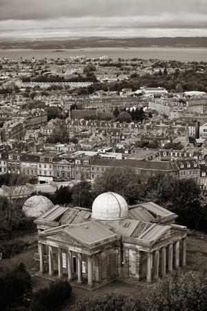 scott monument: Edinburgh city skyline viewed from Calton Hill. United Kingdom.