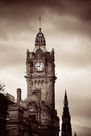 scott monument: Balmoral Hotel bell tower with Scott Monument and Edinburgh city view. Editorial