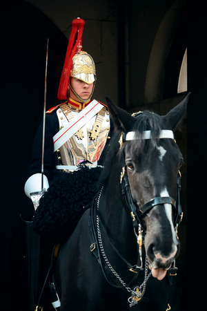 royals: LONDON, UK - SEP 27: Trooper of the Blues and Royals on horse at the horse guard parade on September 27, 2013 in London, UK. Blues and Royals is one of two most senior regiments of the British Army