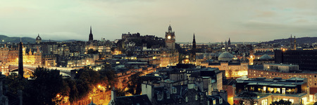 Edinburgh city view panorama at night in UK.