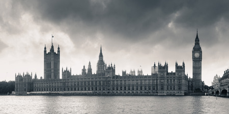 iconic: House of Parliament panorama in Westminster in London. Stock Photo