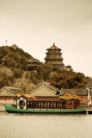 summer palace: Summer Palace with historical architecture and boat in Beijing. Editorial