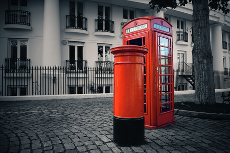 mail box: Telephone box and mail box in London street. Stock Photo