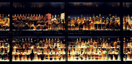 beverage display: Scottish Whisky collection in Edinburgh.