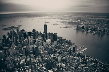 black and white: New York City Manhattan downtown aerial view