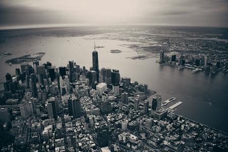 New York City Manhattan downtown aerial view