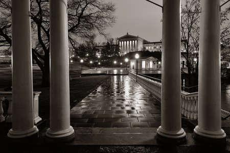 art museum: Philadelphia Art Museum di notte come le famose attrazioni della citt�.