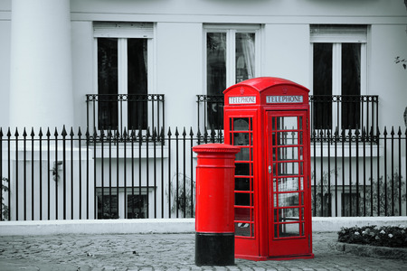telephone box: Red telephone booth and mail box in street in London as the famous icons.