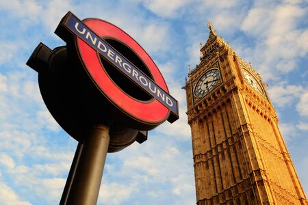 underground: Underground sign with Big Ben in London.