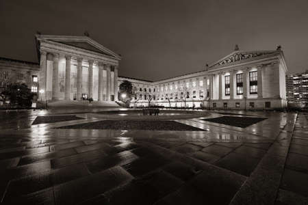 attractions: Philadelphia Art Museum at night as the famous city attractions.