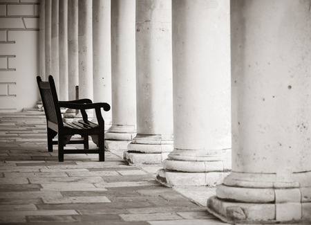 historical architecture: Urban historical architecture with chair in London.