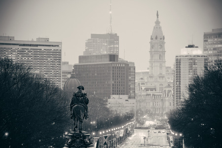 필라델피아에서 조지 워싱턴 동상 oand 거리