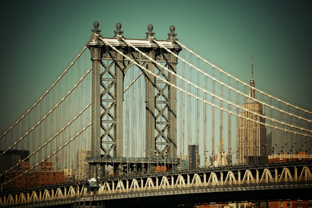 history building: Manhattan Bridge closeup in New York City
