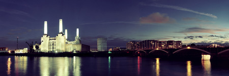 battersea: Battersea Power Station panorama over Thames river as the famous London landmark at night. Editorial