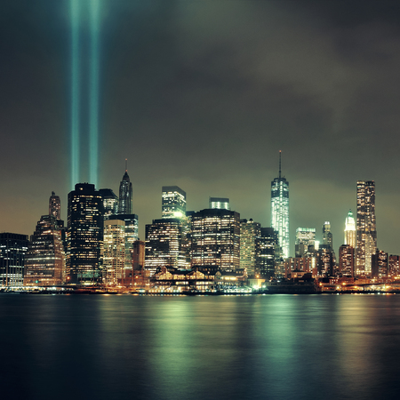 tribute: New York City downtown and september 11 tribute at night Editorial
