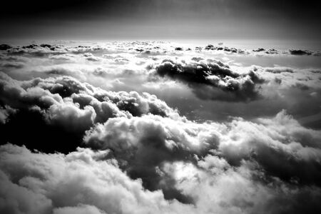 black backgrounds: Cloudscape viewed from air in day