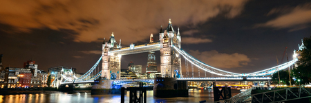 Tower Bridge panorama over Thames River at night in London