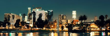 los: Los Angeles downtown at night with urban buildings and lake