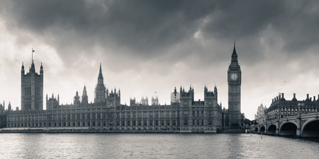 westminster: House of Parliament panorama in Westminster in London. Stock Photo