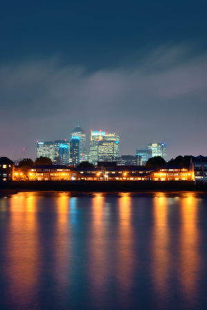 canary wharf: Canary Wharf in London over Thames River. Stock Photo