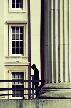 historical architecture: Man and historical architecture in London.