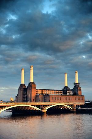 battersea: Battersea Power Station over Thames river as the famous London landmark. Stock Photo