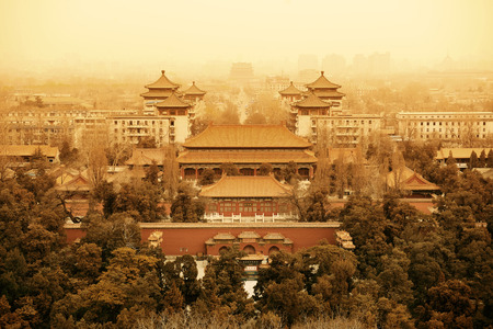 historical architecture: Aerial view of Beijing with historical architecture, China.