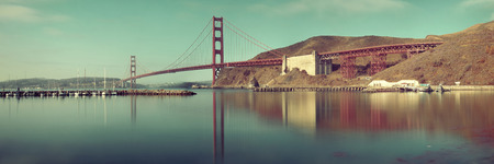 historical reflections: Golden Gate Bridge panorama in San Francisco with reflections