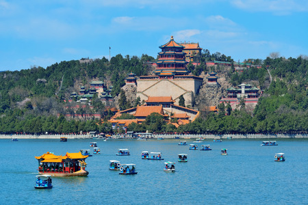 historical architecture: Summer Palace with historical architecture, lake and boat in Beijing. Editorial