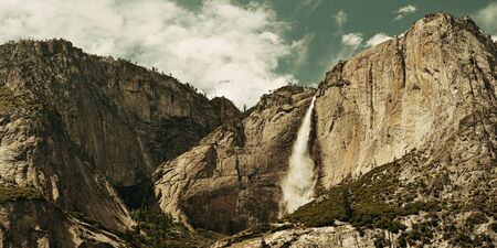 yosemite national park: Waterfalls panorama in Yosemite National Park in California Stock Photo