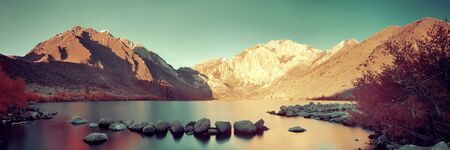 convict lake: Snow mountain and Convict Lake with reflections in Yosemite panorama.