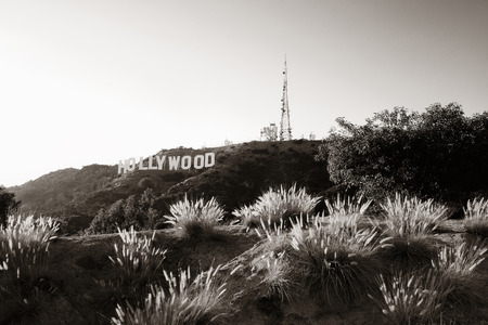 industry architecture: Los Angeles, CA - MAY 18: Hollywood sign on mountain on May 18, 2014 in Los Angeles. Originated as a real estate promotion, it is now the famous landmark of LA and US. Editorial