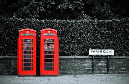 Telephone box in London street.