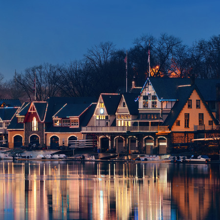 boathouse: Boathouse Row in Philadelphia as the famous historical landmark.