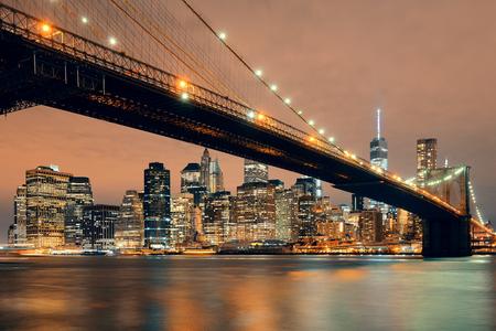 brooklyn: Manhattan Downtown urban view with Brooklyn bridge at night Stock Photo