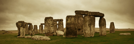 rituals: Stonehenge panorama with cloud near London as the National Heritage site of UK.