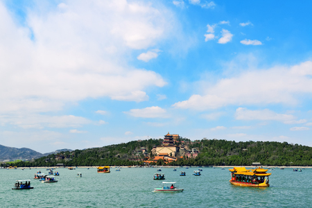 the summer palace: Summer Palace with historical architecture, lake and boat in Beijing. Editorial