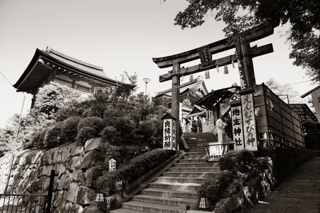 former years: KYOTO, JAPAN - MAY 18: Jishu Jinja Shrine exterior on May 18, 2013 in Kyoto. Former imperial capital of Japan for more than one thousand years, it has the name of City of Ten Thousand Shrines.