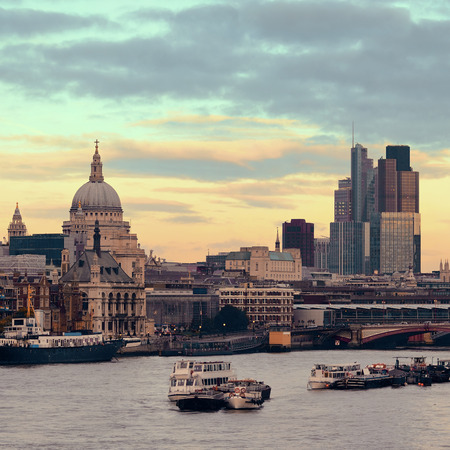 london skyline: St Pauls cathedral in London as the famous landmark. Stock Photo