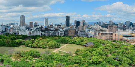 Osaka urban city park rooftop view. Japan.