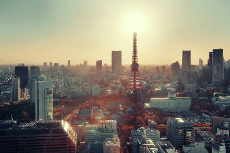 Tokyo Tower and urban skyline rooftop view at sunset, Japan. Stock Photo - 46870377