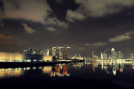 singapore skyline: Singapore skyline at night with urban buildings Stock Photo