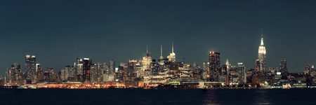 hudson river: Midtown Manhattan skyline at dusk panorama over Hudson River Stock Photo