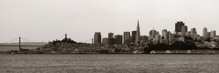 historical landmark: San Francisco city skyline panorama with urban architectures. Stock Photo