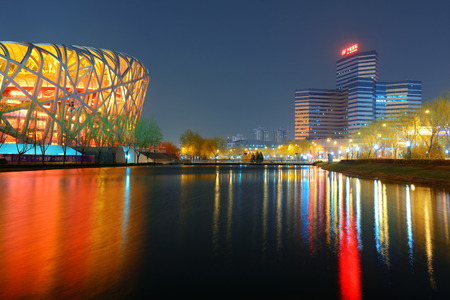summer olympics: BEIJING, CHINA - APR 7: Beijing National Stadium at night on April 7, 2013 in Beijing, China. The stadium was established for the 2008 Summer Olympics and Paralympics.