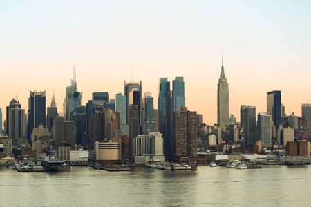 waterfront: New York City midtown Manhattan sunset skyline panorama view over Hudson River