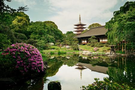 tokyo japan: Garden in Sensoji Temple, Tokyo, Japan.
