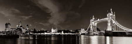in europe: Tower Bridge panorama over Thames River at night in London