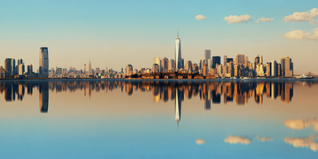 wtc: Manhattan downtown skyline with urban skyscrapers over river with reflections. Stock Photo