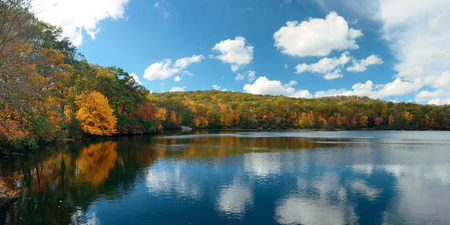 state park: Autumn colorful foliage with lake reflection panorama.